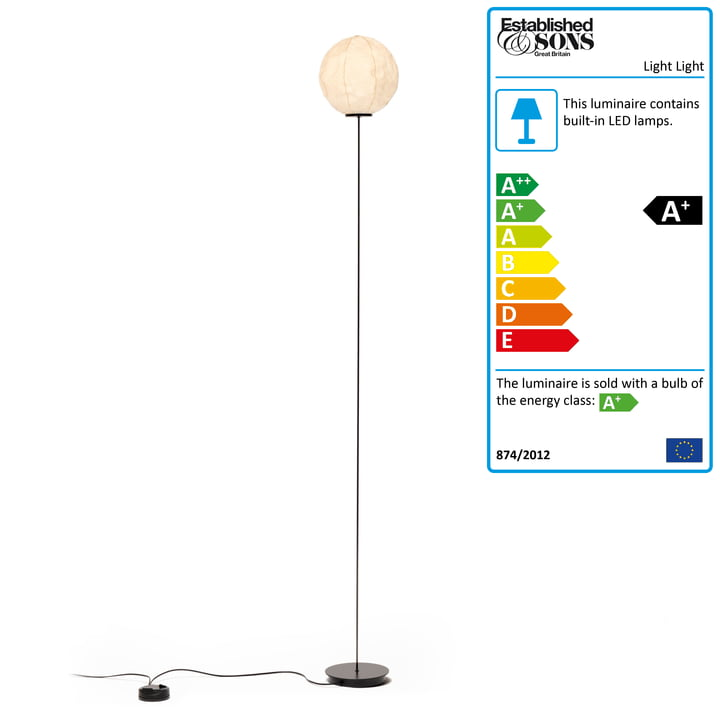 Established & Sons - Light Light Floor Lamp F1, H 140 cm, off-white