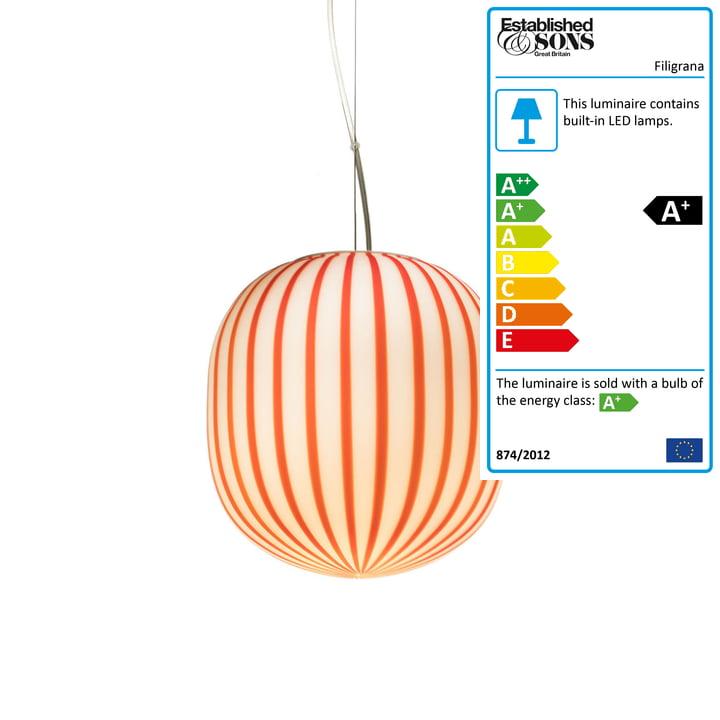 Established & Sons - Filigrana Pendant Lamp S2 Cylinder, Ø 220 mm, red / white