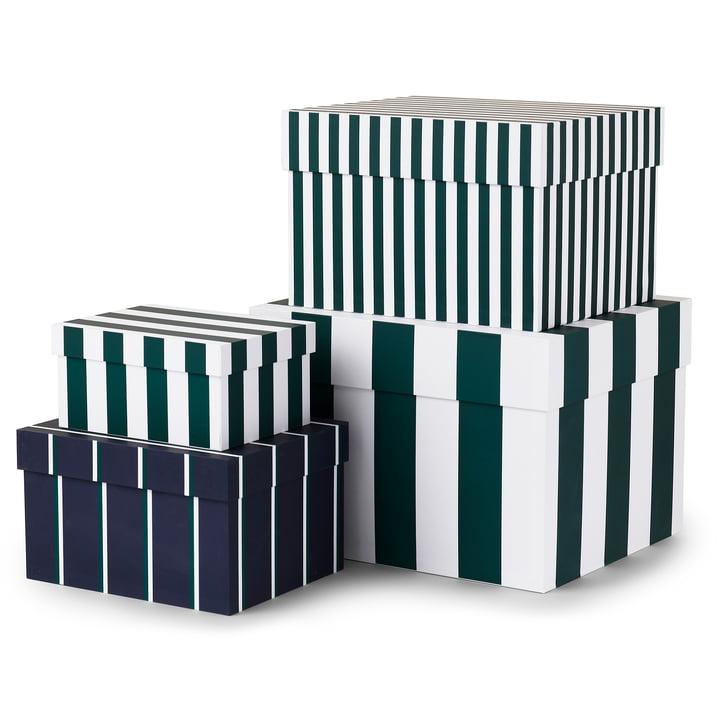 Tivoli - Candy Stripe boxes (set of 4), garden green