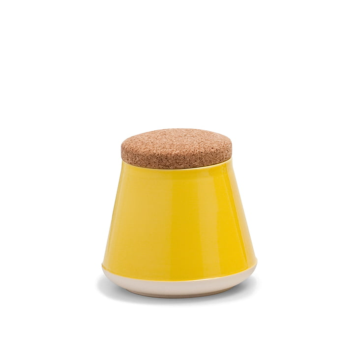 Established & Sons - Store Ceramic Container with Lid H 14 cm, gloss yellow / matt white