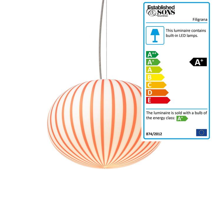 Established & Sons - Filigrana Pendant Lamp S3 Ellipse, Ø 370 mm, red / white