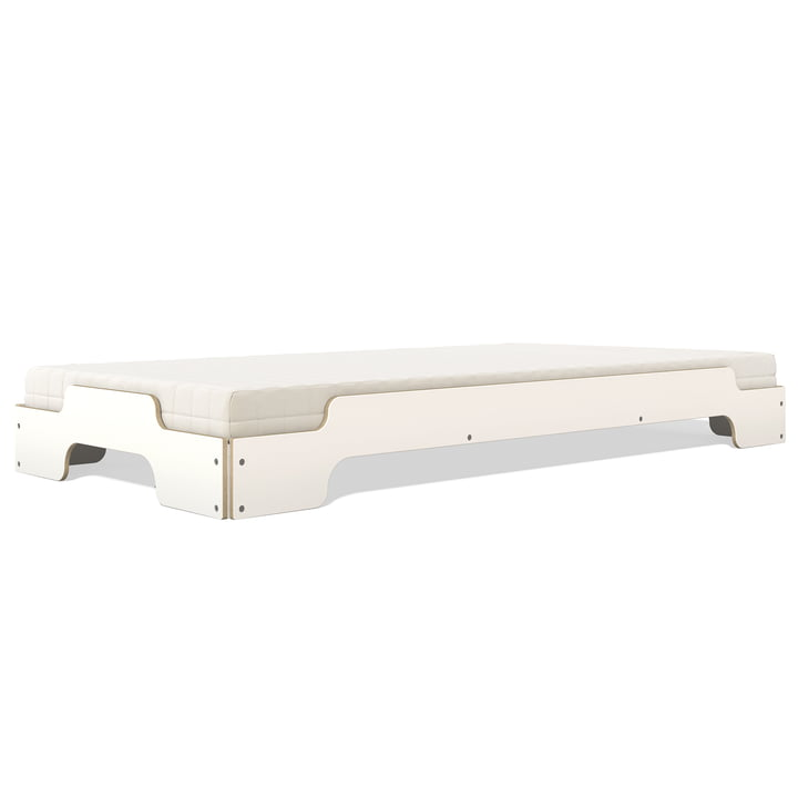 Müller Möbelwerkstätten - Stacking bed, white lacquered with birch edges, 90 x 200 (COMFORT)