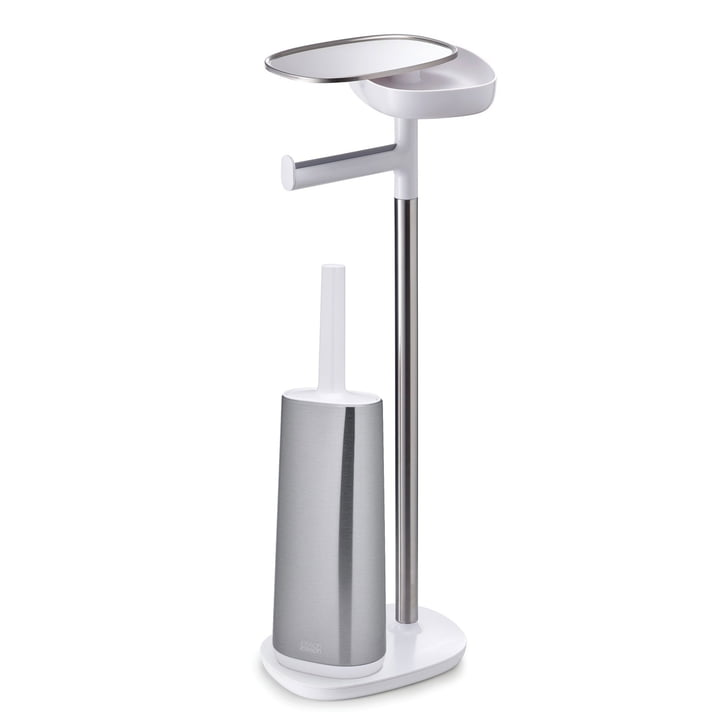Joseph Joseph Joseph - EasyStore Plus Toilet Paper Holder with Flex Steel Toilet Brush, stainless steel / white