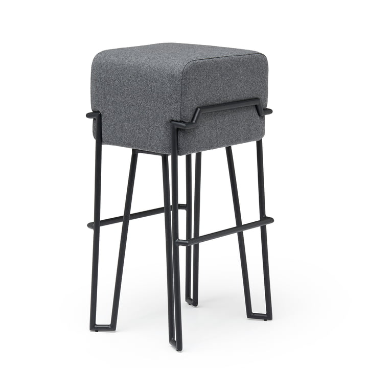 Bokk bar stool H 76 cm, black / grey by Puik