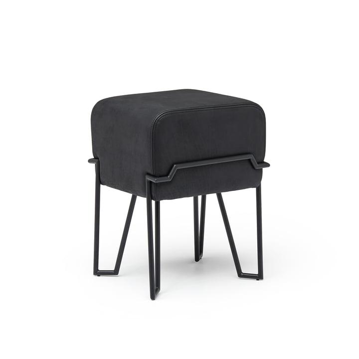 Bokk Stool H 52 cm, black / leather black from Puik