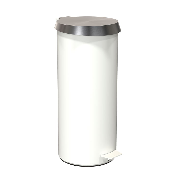 Pedal Bucket 550 in White / Brushed Stainless Steel by Frost