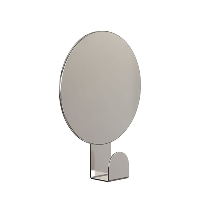 Round Mirror U4120 with Hook in Polished Stainless Steel
