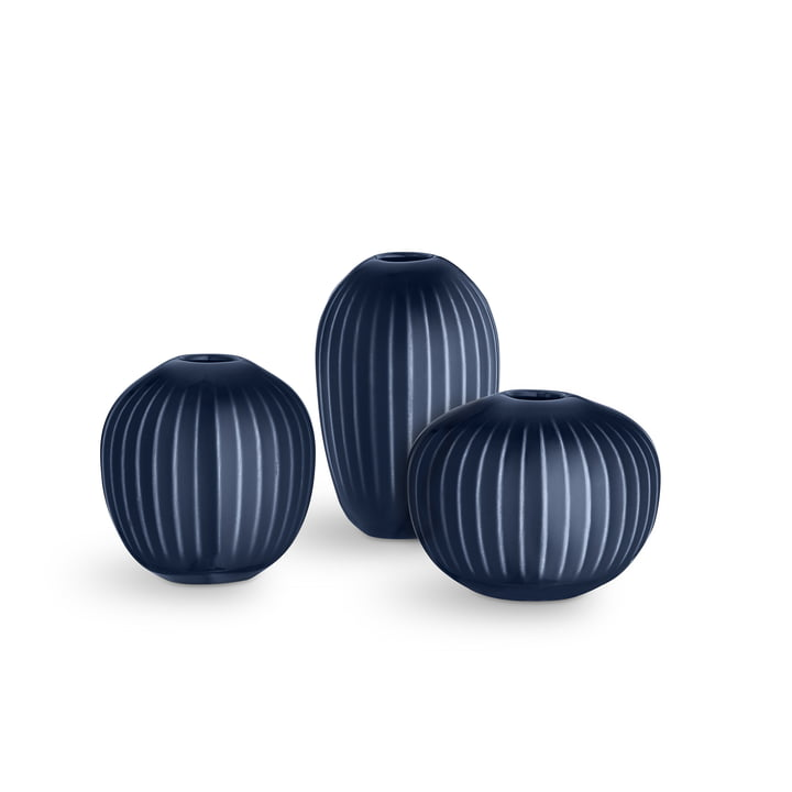 Indigo Miniature Vase Set Hammershøi by Kähler Design