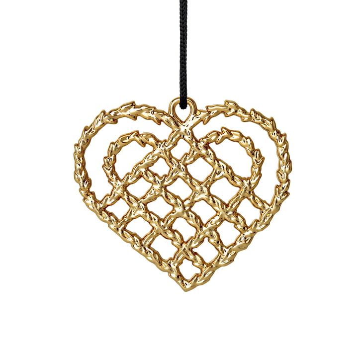 Woven Heart H 7 cm, gold by Rosendahl