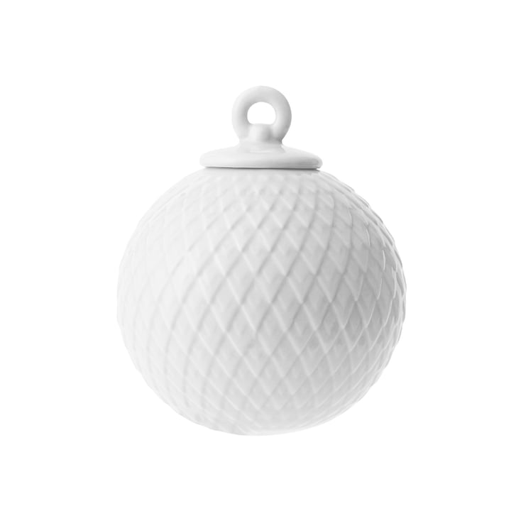 Rhombe decorative ball in white by Lyngby Porcelæn
