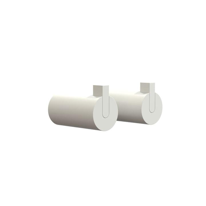 Nova 2 Wall Hooks, Ø 25 x T 50 mm in White (set of 2) by Frost