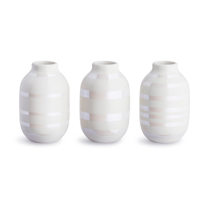 Omaggio Vase miniature H 8 cm, mother of pearl (set of 3) by Kähler Design