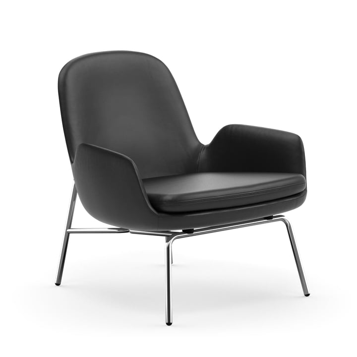 Normann Copenhagen - Era Lounge Chair Low, chrome / black leather (Ultra Leather 41599)