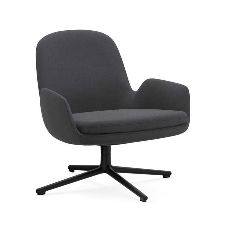 Era Lounge Chair Low Swivel by Normann Copenhagen in aluminium black / grey (Fame 60003)