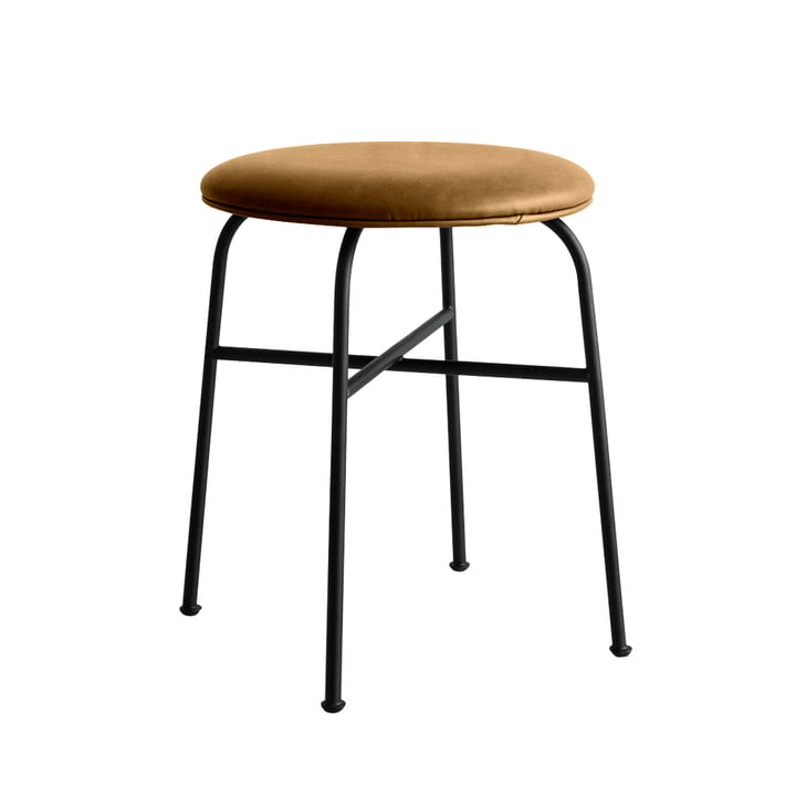Afteroom stool from Menu in black / leather cognac