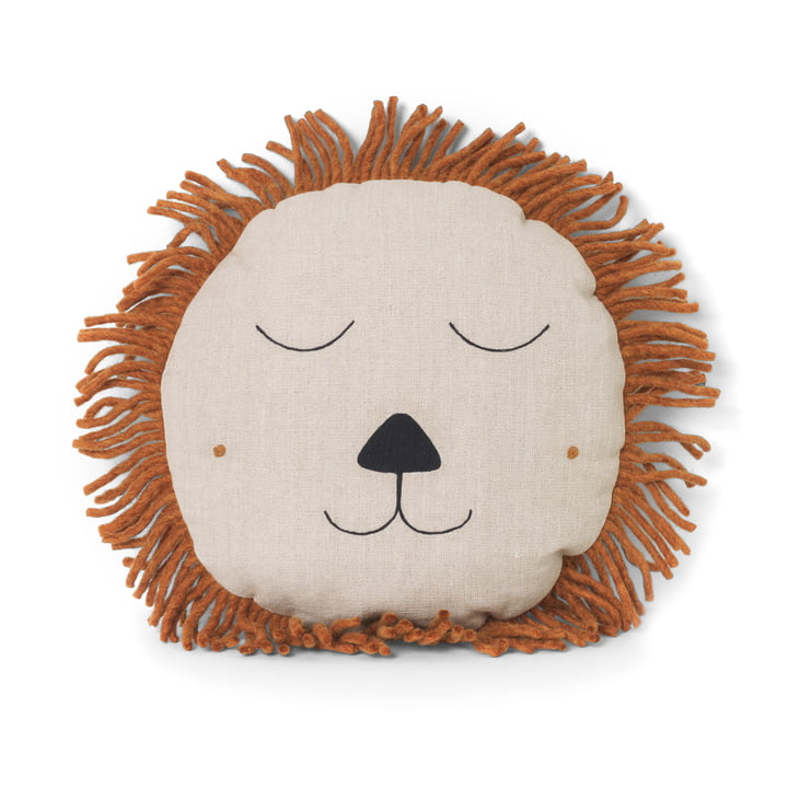Safari Cushion Lion by ferm Living in Natural