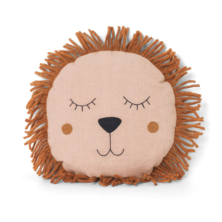 Safari Cushion Lion by ferm Living in Pink
