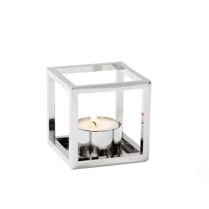 Kubus T Tealight holder from by Lassen in Nickel