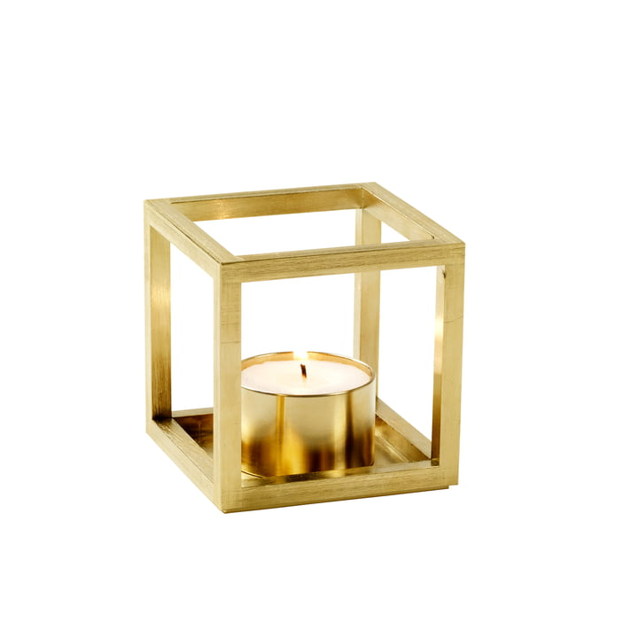 Kubus T Tealight holder from by Lassen in brass