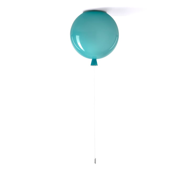 Memory ceiling lamp by Brokis - Ø 30 x H 32,5 cm, turquoise / cable white