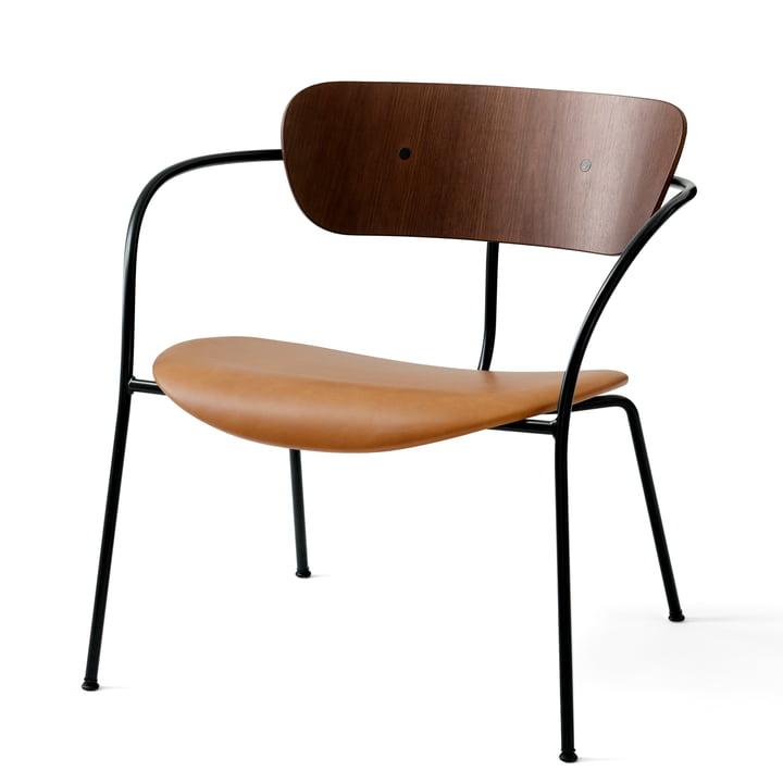 &Tradition - Pavilion Lounge Chair AV 6, black / silk cognac leather / lacquered walnut