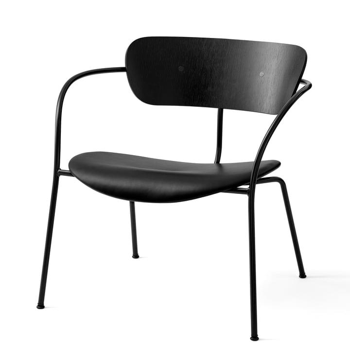 Pavilion Lounge Chair AV 6 in black / silk black leather / black lacquered oak