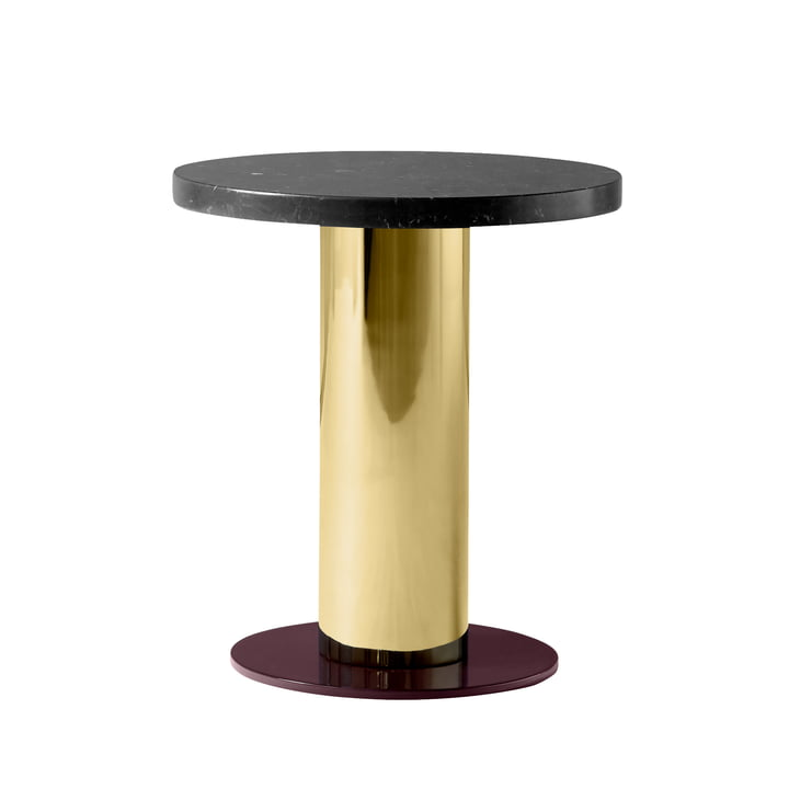 Mezcla JH19 Side table by & tradition - Ø 42 x H 45 cm, marble black / brass / burgundy