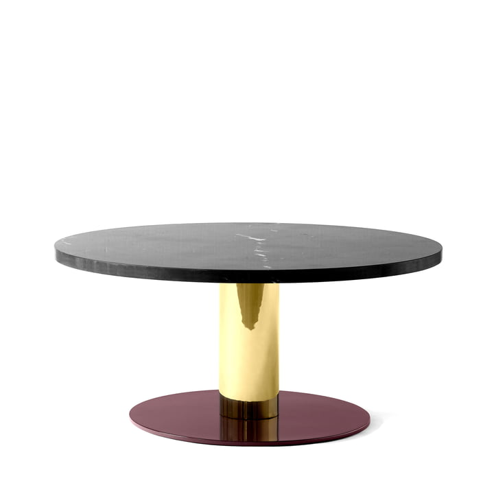 &tradition - Mezcla JH20 Side Table, Ø 80 x H 40 cm, black marble / brass / burgundy