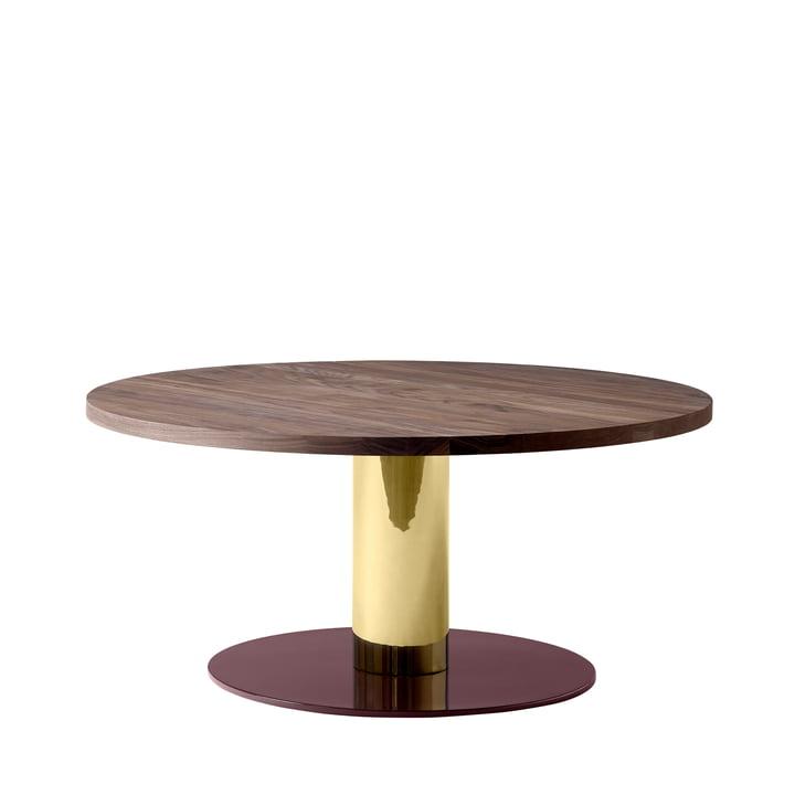 &tradition - Mezcla JH20 Coffee Table, Ø 80 x H 40 cm, walnut / brass / burgundy