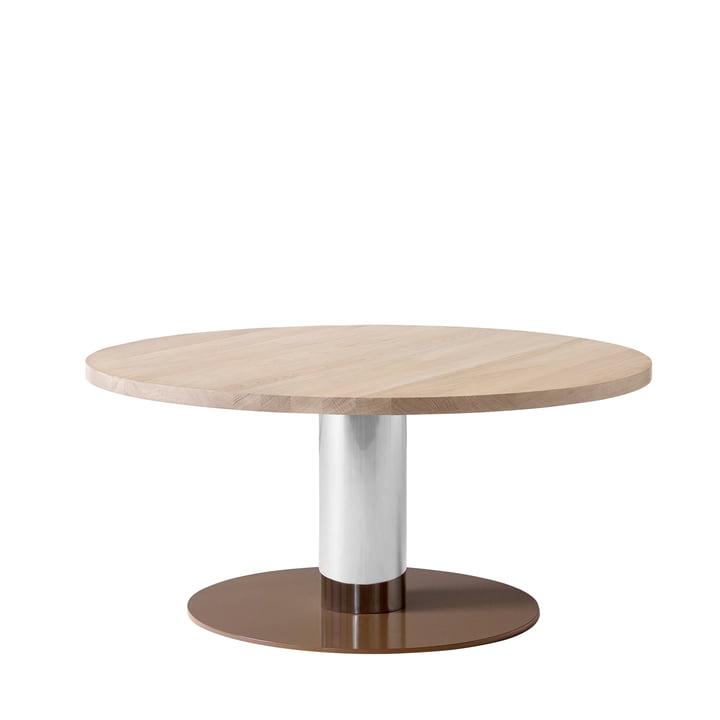 &tradition - Mezcla JH20 coffee table, Ø 80 x H 40 cm, oak / chrome / clay