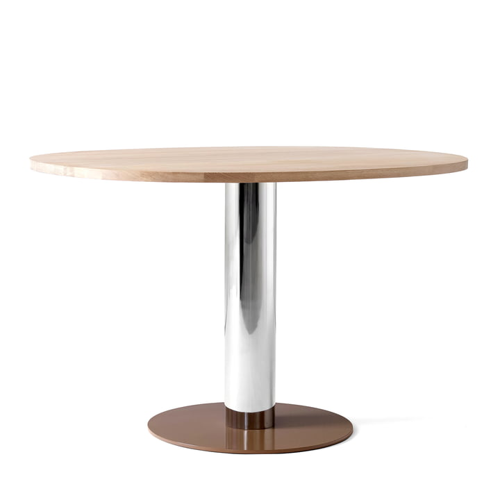 Mezcla JH22 Dining Table by &tradition - H 73 cm, 90 x 120 cm, oak / chrome / clay