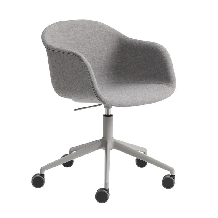 Fiber office armchair Swivel Base from Muuto in aluminium grey / grey (Remix 133)