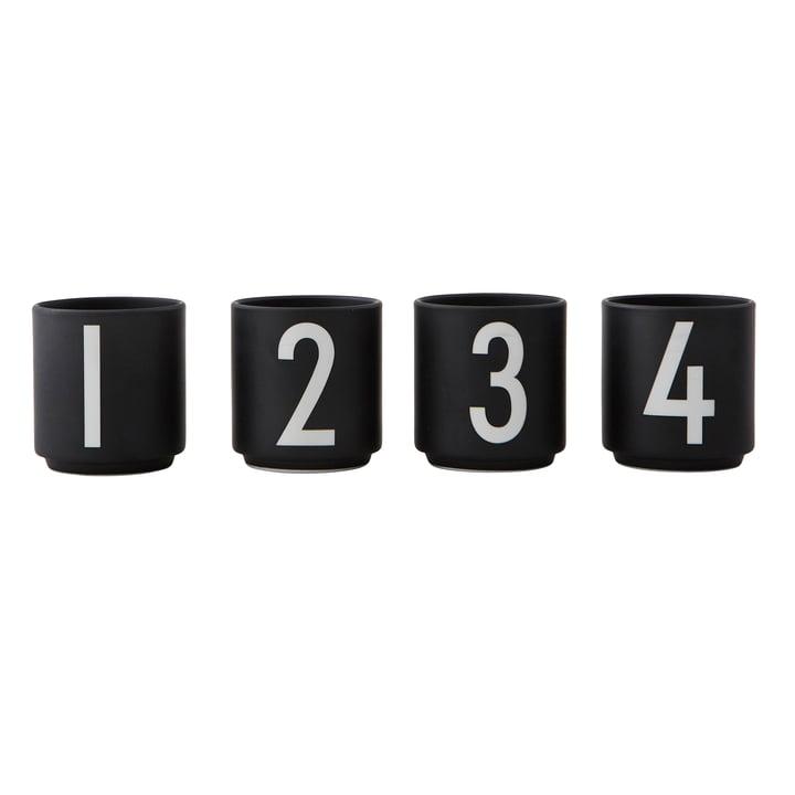 Porcelain mini mug (set of 4) from Design Letters in black