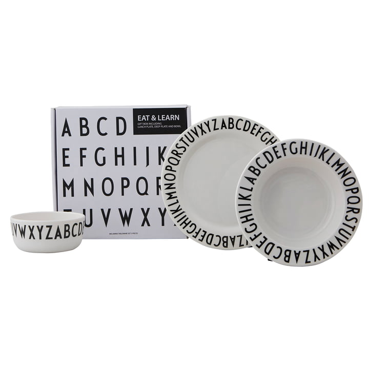 Melamine tableware set Classic from Design Letters in white