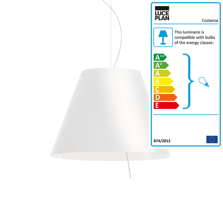 Grande Costanza Pendant Lamp D13G s. by Luceplan - dimmable, aluminium / white