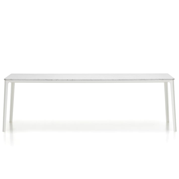 Plate Dining Table by Vitra - 220 x 100 cm, tabletop Carrara marble / base white