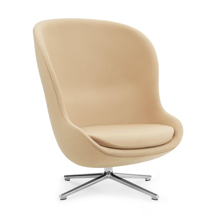 Hyg Lounge Chair Swivel High by Normann Copenhagen - Aluminium / beige (Synergy LDS18)