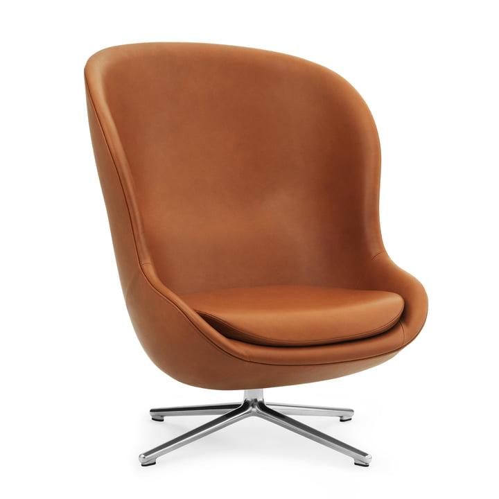Hyg Lounge Chair Swivel Tilt High by Normann Copenhagen - Aluminium / Ultra Leather (Brandy 41)