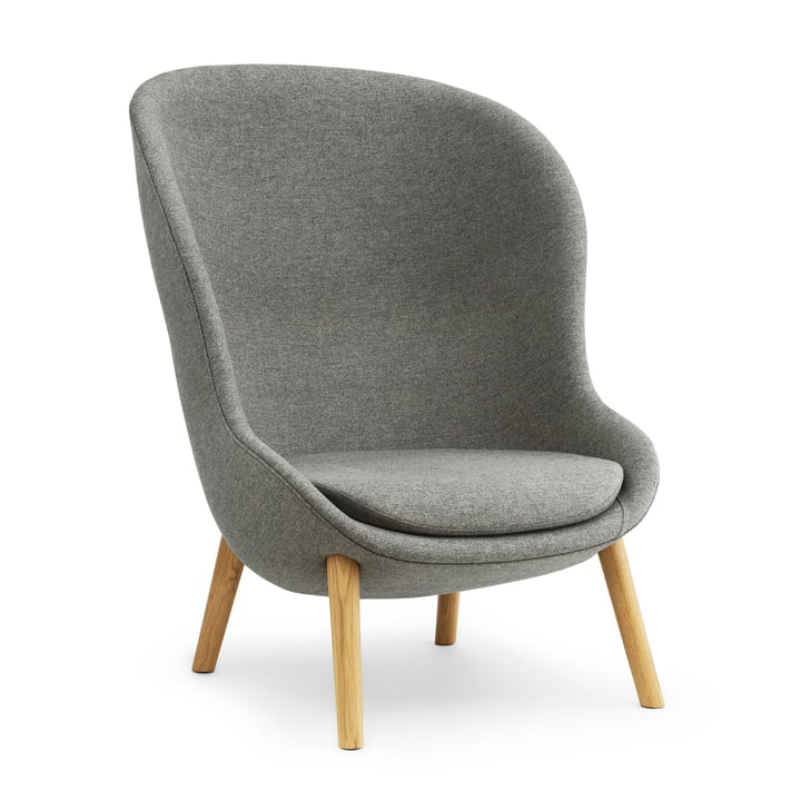 Hyg Lounge Chair High by Normann Copenhagen - oak / grey (Flax MLF26)