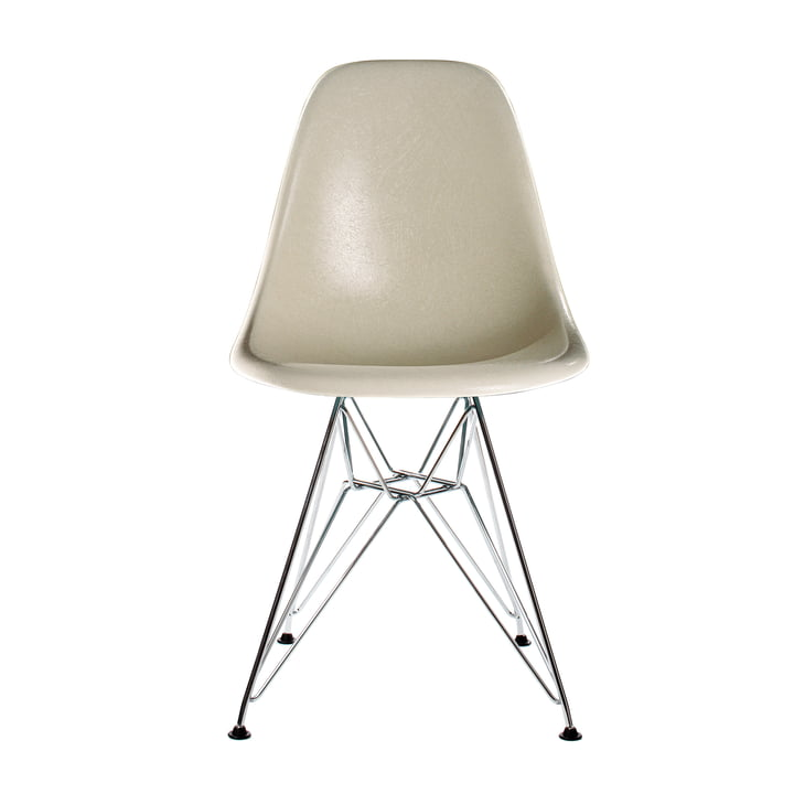 Eames Fiberglass Side Chair DSR by Vitra in chromed / Eames parchment