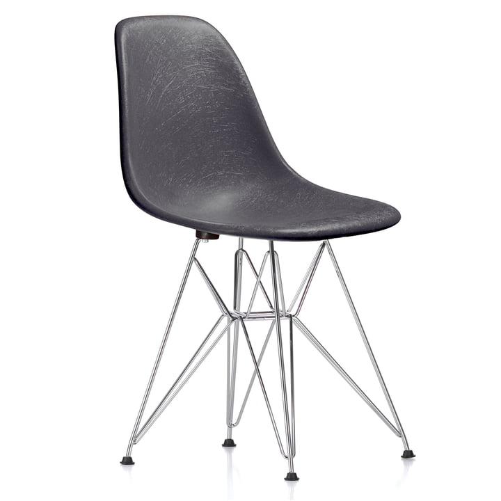 Eames Fiberglass Side Chair DSR by Vitra - chrome plated / Eames elephant hide grey