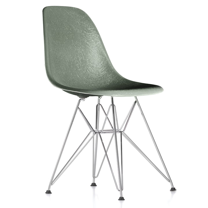 Eames Fiberglass Side Chair DSR by Vitra - chromed / Eames sea foam green