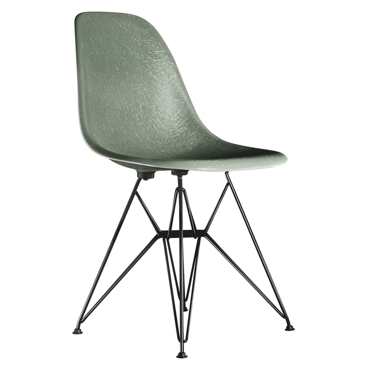 Eames fibreglass side chair DSR by Vitra - basic dark / Eames sea foam green