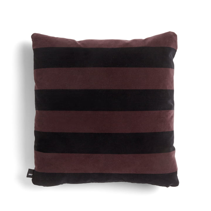 Soft Stripe Cushion, 50 x 50 by Hay in burgundy