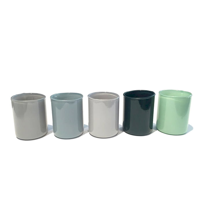 Spot Votive tea light holder in a set of 5 by Hay in green