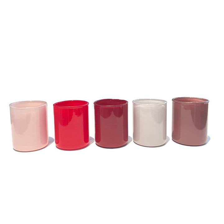 Spot Votive tea light holder in a set of 5 by Hay in red