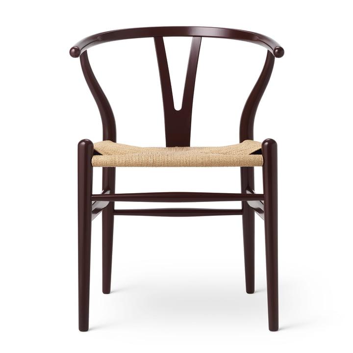 CH24 Wishbone Chair by Carl Hansen in beech Deep Burgundy / natural wickerwork (Birthday Edition)
