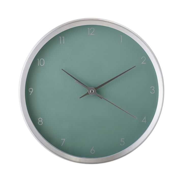 Wall clock Ø 25 cm from Bloomingville - silver / green