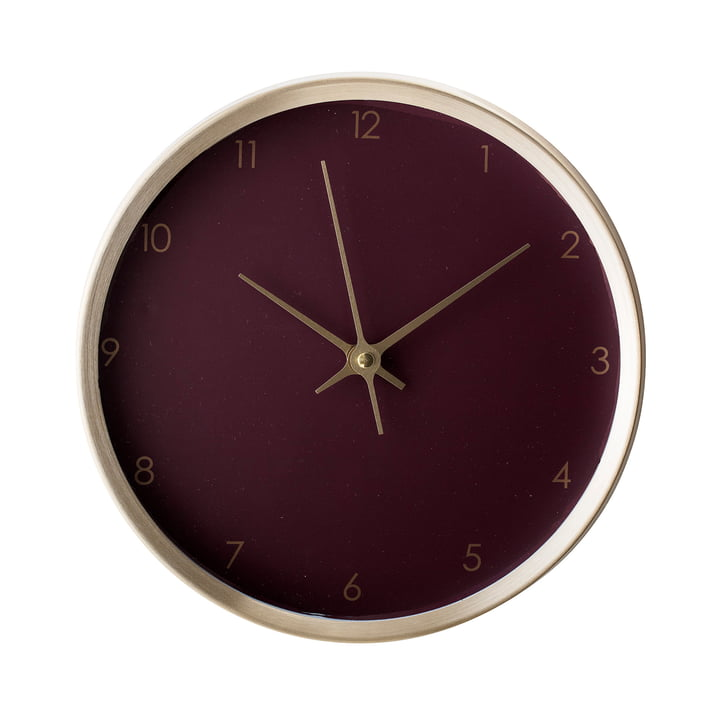 Wall clock Ø 25 cm from Bloomingville - gold / bordeaux