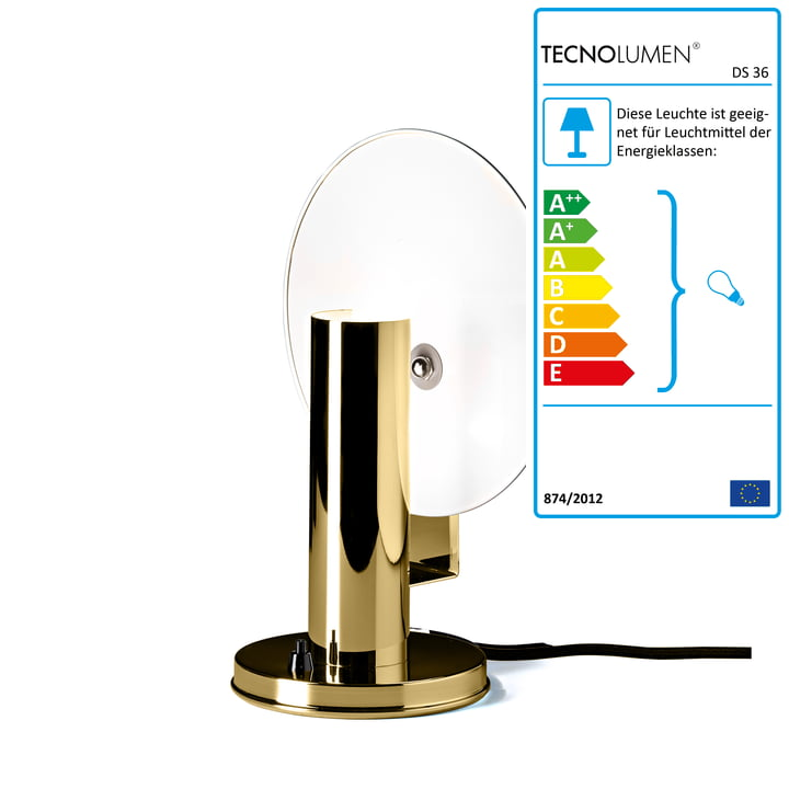 De Stijl night table lamp DS36 of polished Tecnolumen brass
